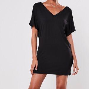 Missguided Black Wide V Neck T-Shirt Dress